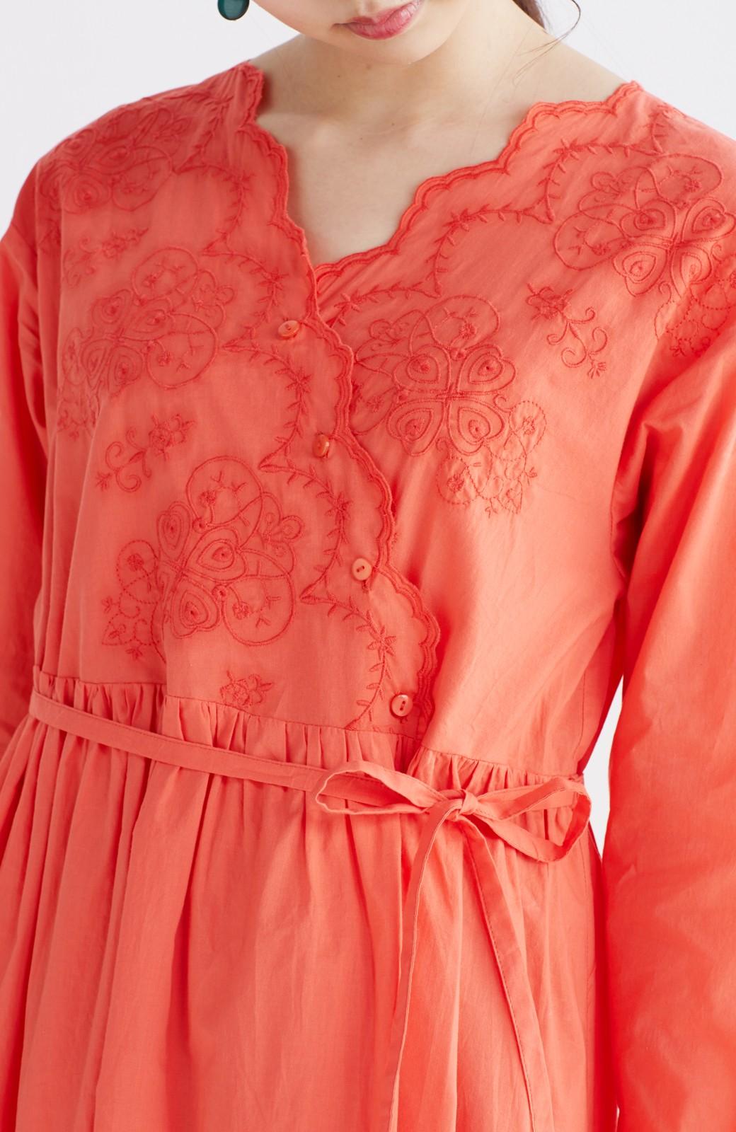 エムトロワ 羽織りにもなるスカラップレースカシュクールワンピース <オレンジ系その他>の商品写真16
