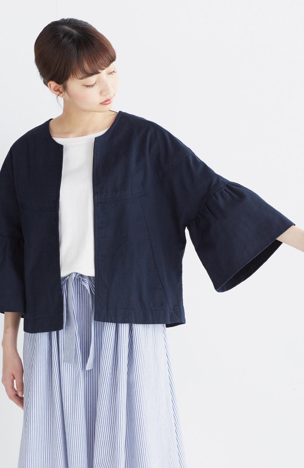 nusy さっと羽織るのにちょうどいい ラッフルスリーブジャケット <ネイビー>の商品写真9