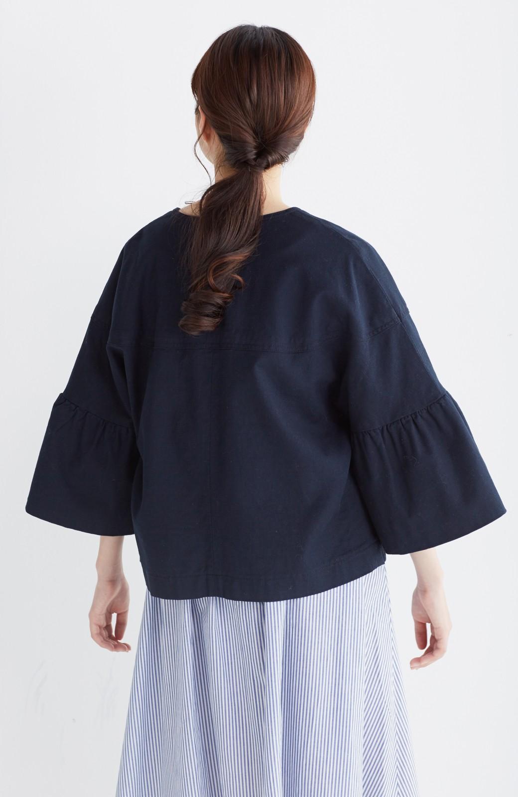 nusy さっと羽織るのにちょうどいい ラッフルスリーブジャケット <ネイビー>の商品写真11