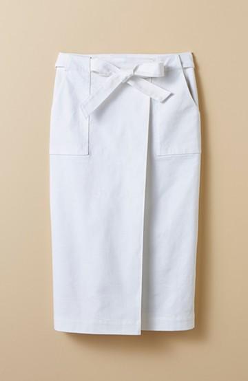 haco! パッと着るだけで女らしくてかっこいい ラップ風スカート by que made me <ホワイト>の商品写真