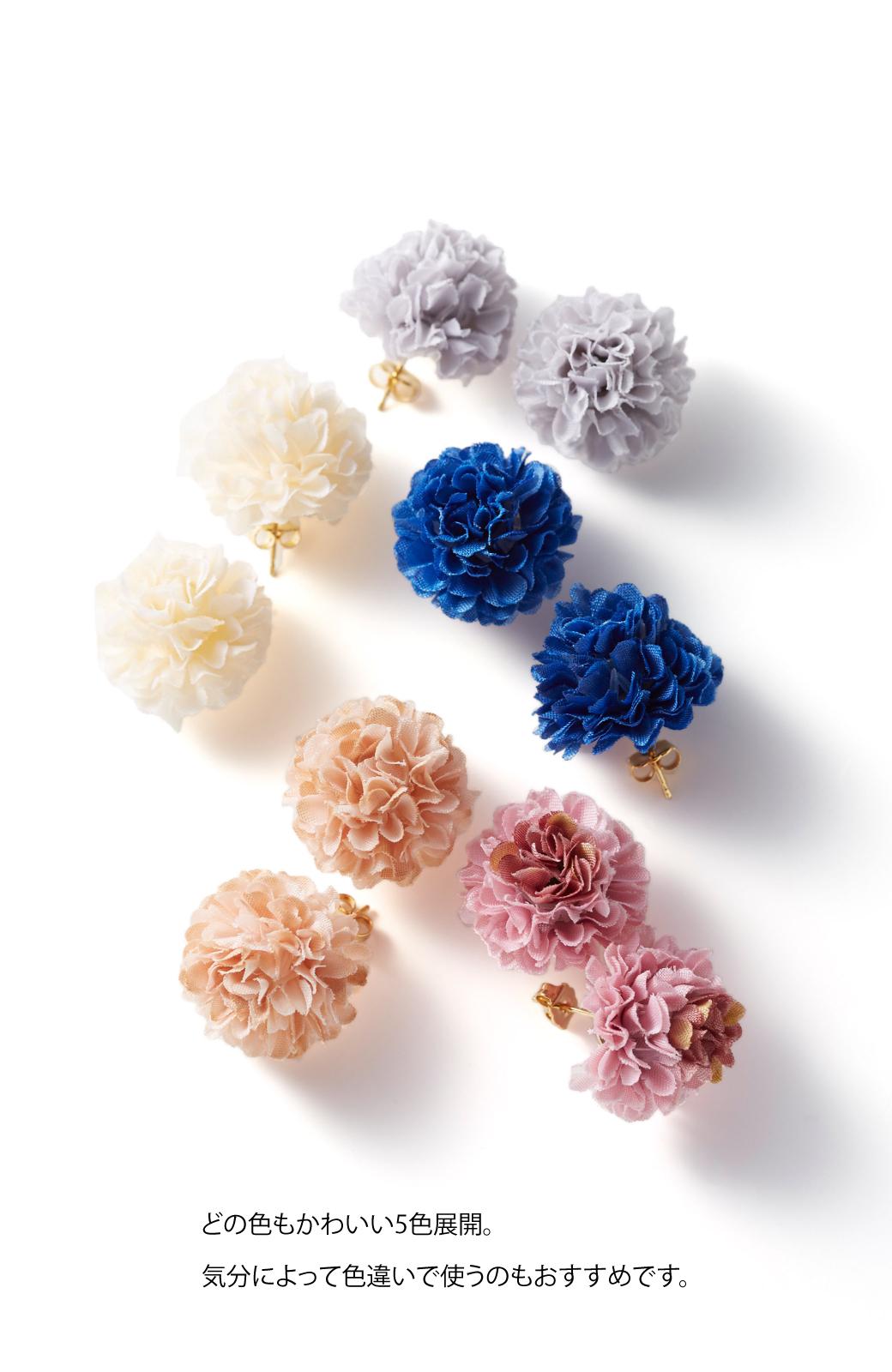 haco! 気分も顔まわりも華やかになる お花のピアス&イヤリング <ライトグレー>の商品写真9