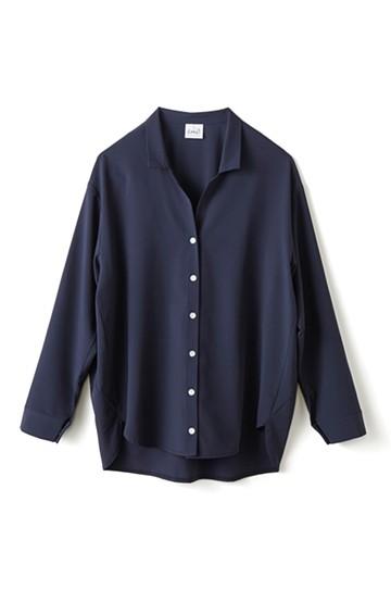 エムトロワ 女らしくてかっこいい スキッパー&抜き衿のとろみシャツ <ネイビー>の商品写真
