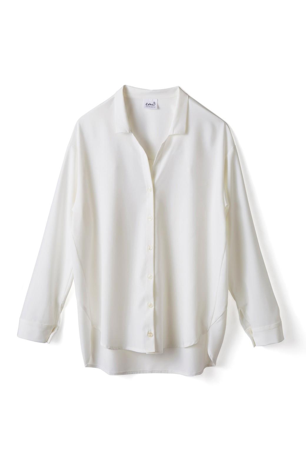 エムトロワ 女らしくてかっこいい スキッパー&抜き衿のとろみシャツ <ホワイト>の商品写真2