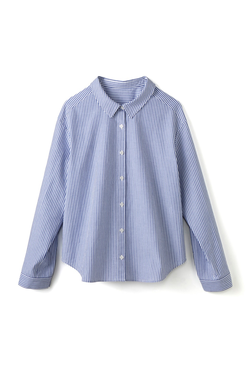 エムトロワ 抜き衿シャツ&ふんわりスカートの総柄セットアップ <ホワイト×ブルー>の商品写真2