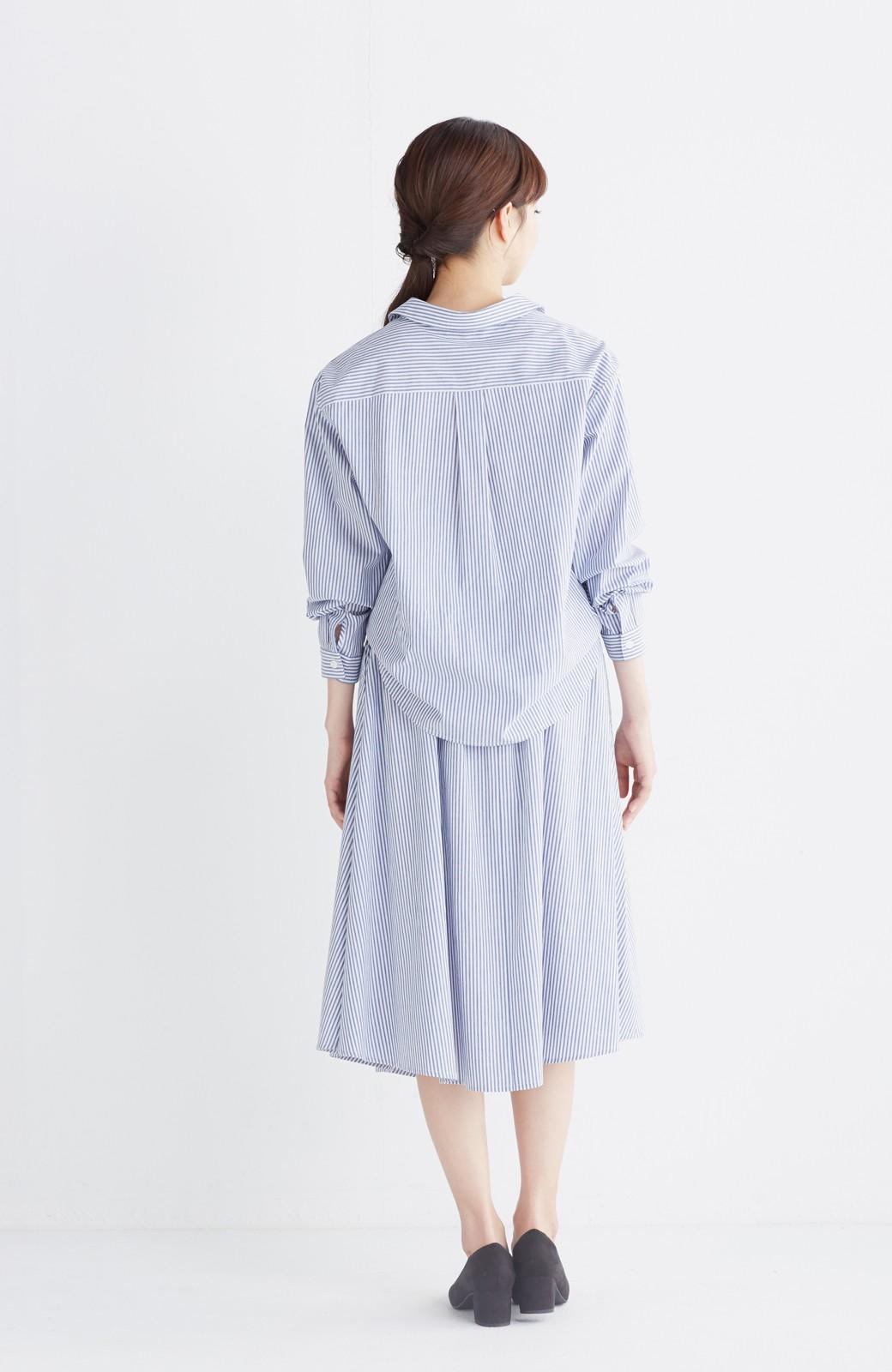 エムトロワ 抜き衿シャツ&ふんわりスカートの総柄セットアップ <ホワイト×ブルー>の商品写真19