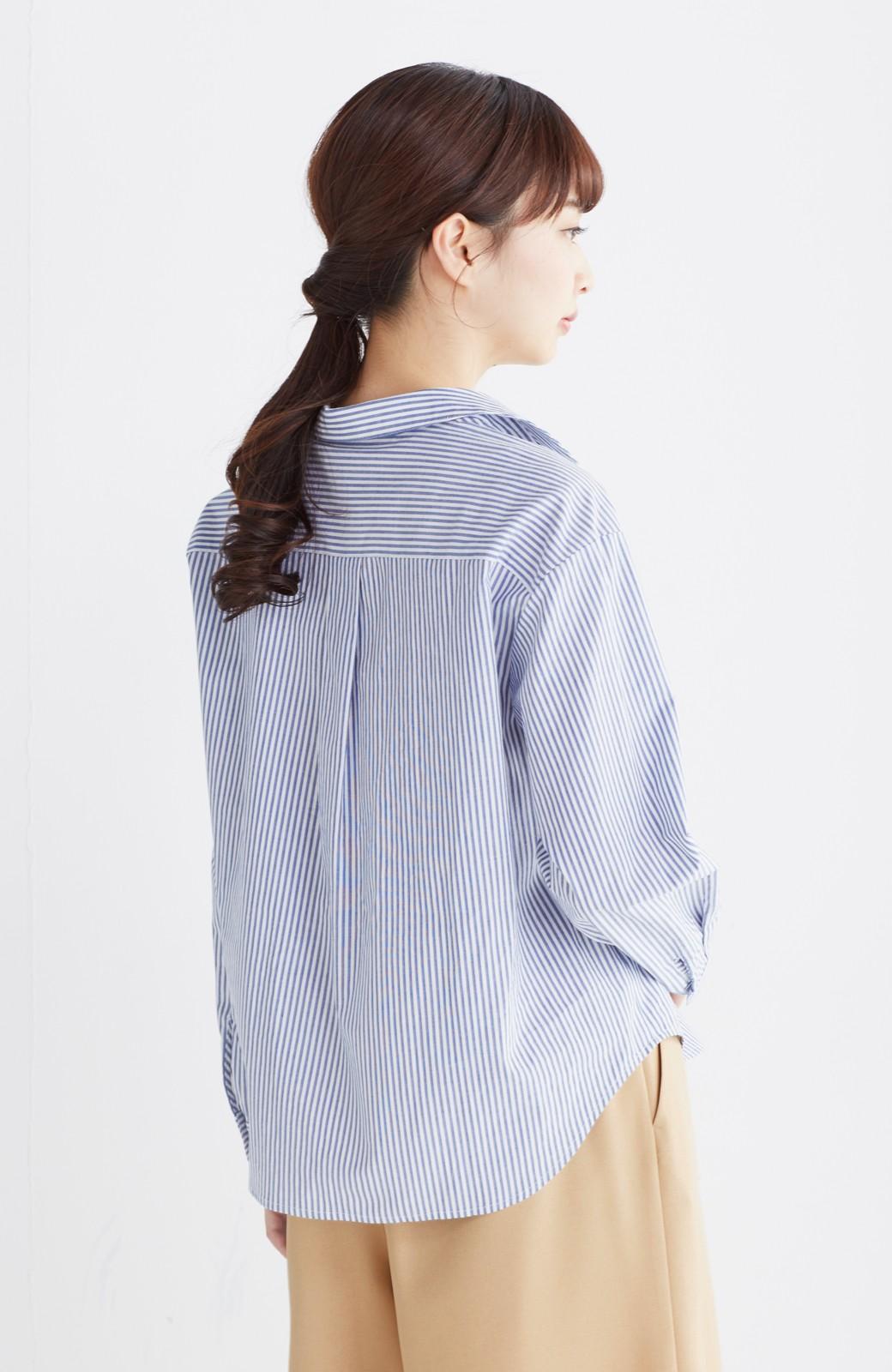 エムトロワ 抜き衿シャツ&ふんわりスカートの総柄セットアップ <ホワイト×ブルー>の商品写真29
