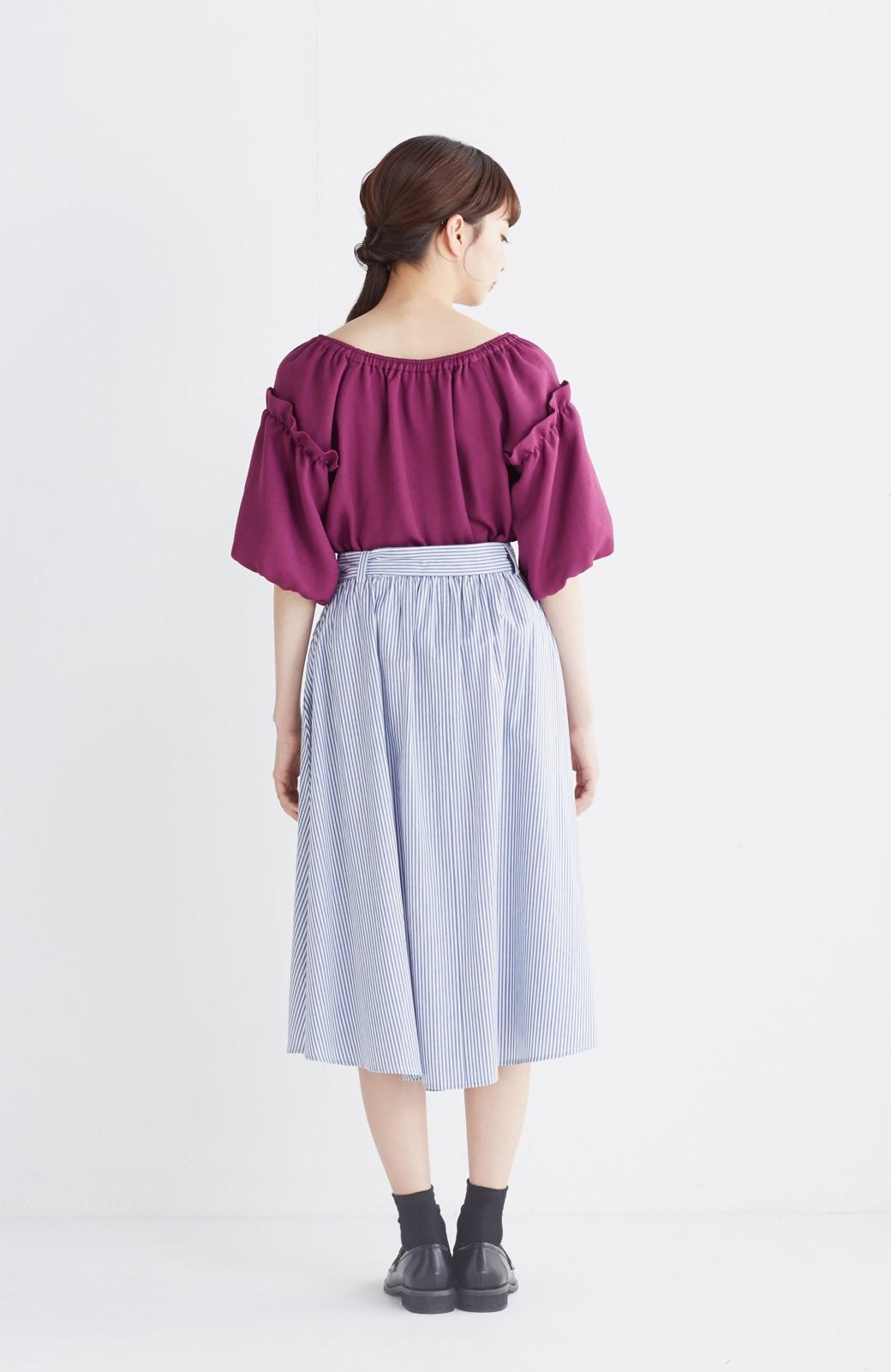 エムトロワ 抜き衿シャツ&ふんわりスカートの総柄セットアップ <ホワイト×ブルー>の商品写真21