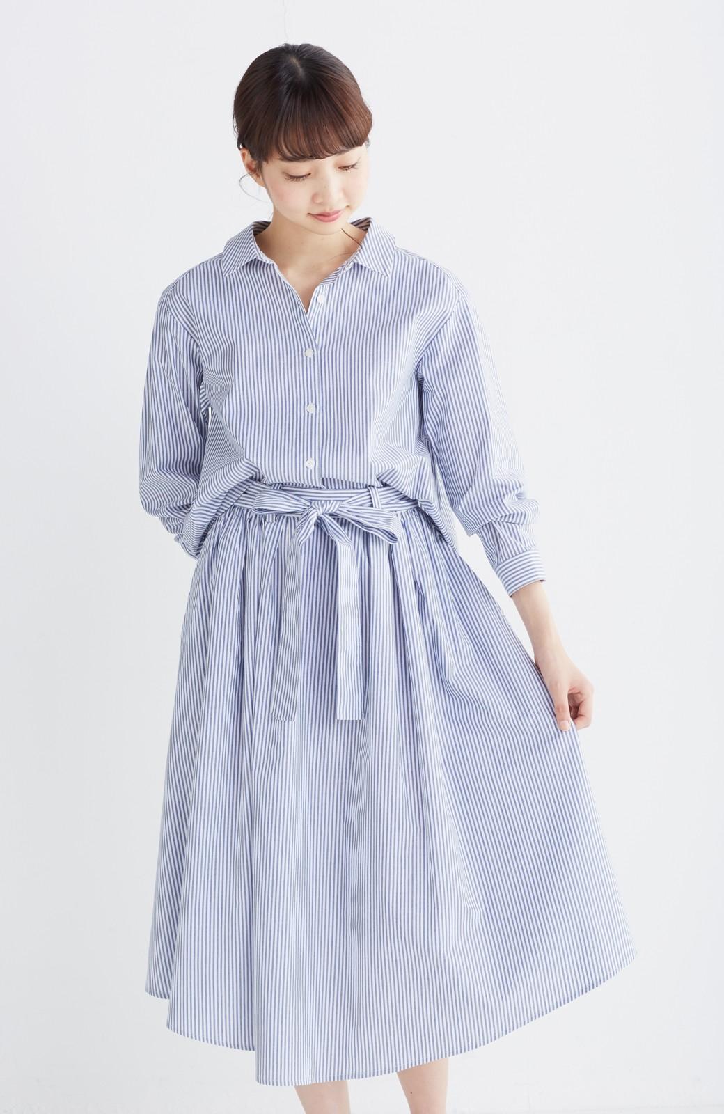 エムトロワ 抜き衿シャツ&ふんわりスカートの総柄セットアップ <ホワイト×ブルー>の商品写真23