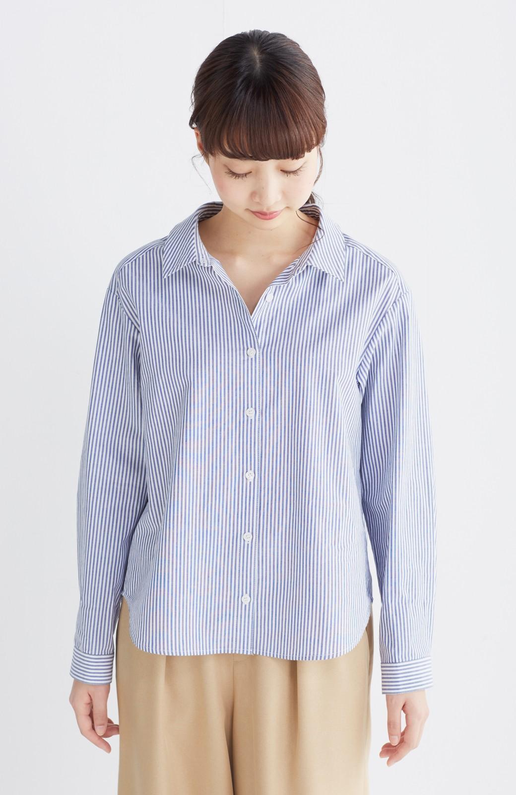 エムトロワ 抜き衿シャツ&ふんわりスカートの総柄セットアップ <ホワイト×ブルー>の商品写真24