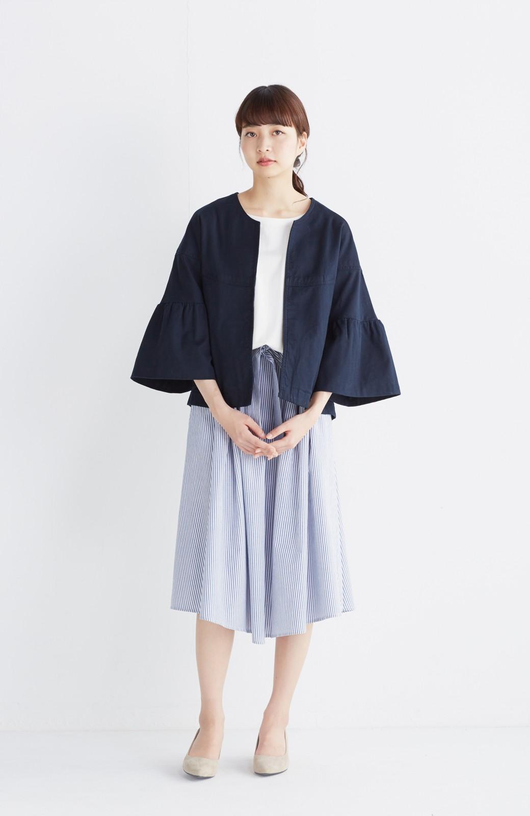 エムトロワ 抜き衿シャツ&ふんわりスカートの総柄セットアップ <ホワイト×ブルー>の商品写真12