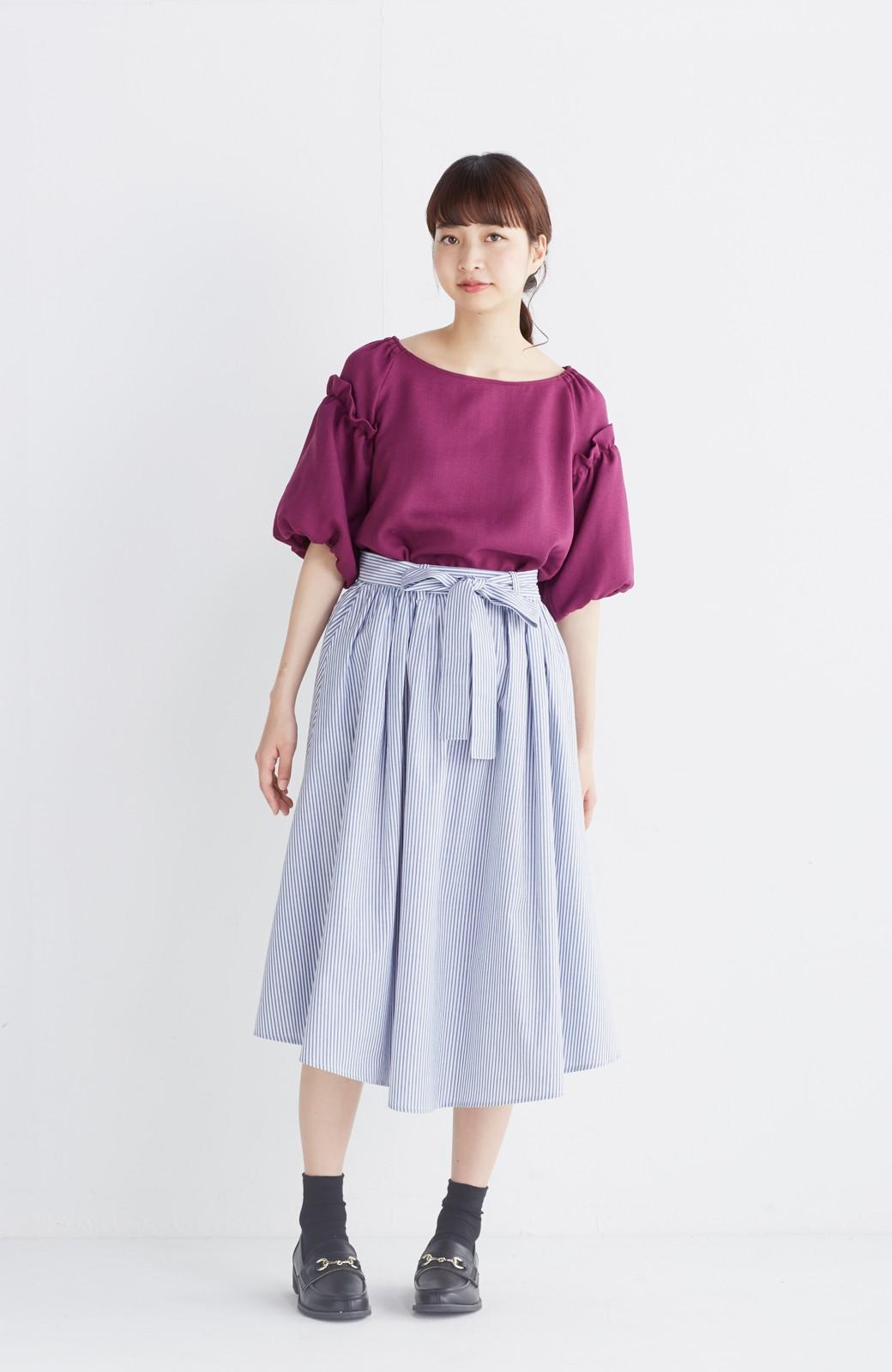エムトロワ 抜き衿シャツ&ふんわりスカートの総柄セットアップ <ホワイト×ブルー>の商品写真8