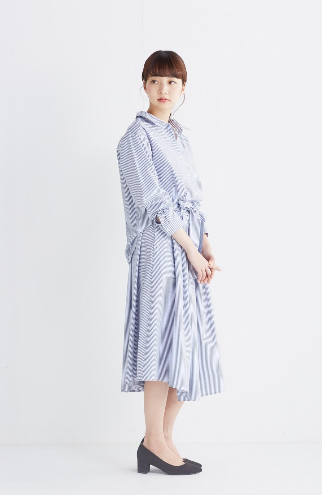エムトロワ 抜き衿シャツ&ふんわりスカートの総柄セットアップ <ホワイト×ブルー>の商品写真15