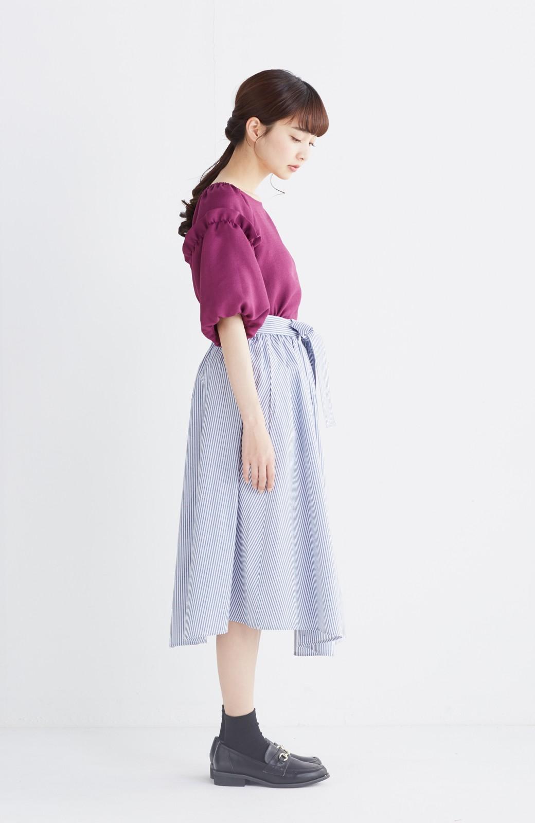 エムトロワ 抜き衿シャツ&ふんわりスカートの総柄セットアップ <ホワイト×ブルー>の商品写真16