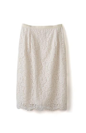 エムトロワ パッと着て華やぐ レースタイトスカート <アイボリー>の商品写真