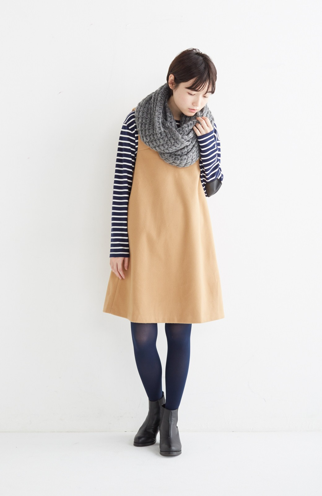 エムトロワ 大人レディーライクジャンパースカート <キャメル>の商品写真9
