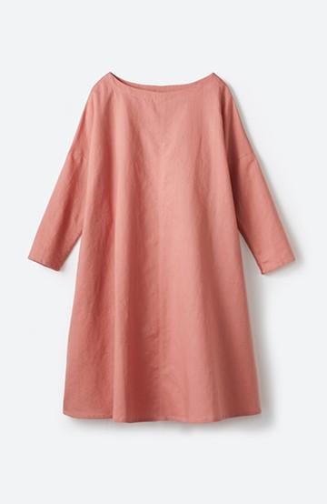 haco! 着るほどになじむ、リネン100%のゆったりワンピース  <ピンク>の商品写真