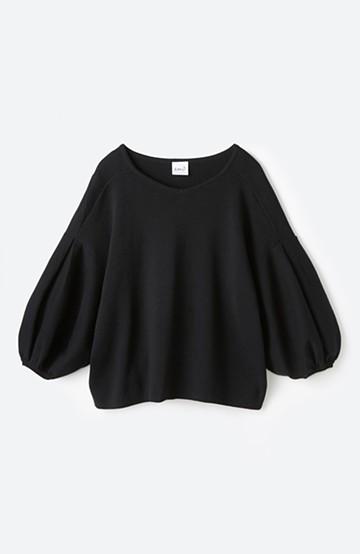 エムトロワ パッと着るだけで上品&今気分 きれいめ総針編みのぷっくり袖ニット <ブラック>の商品写真