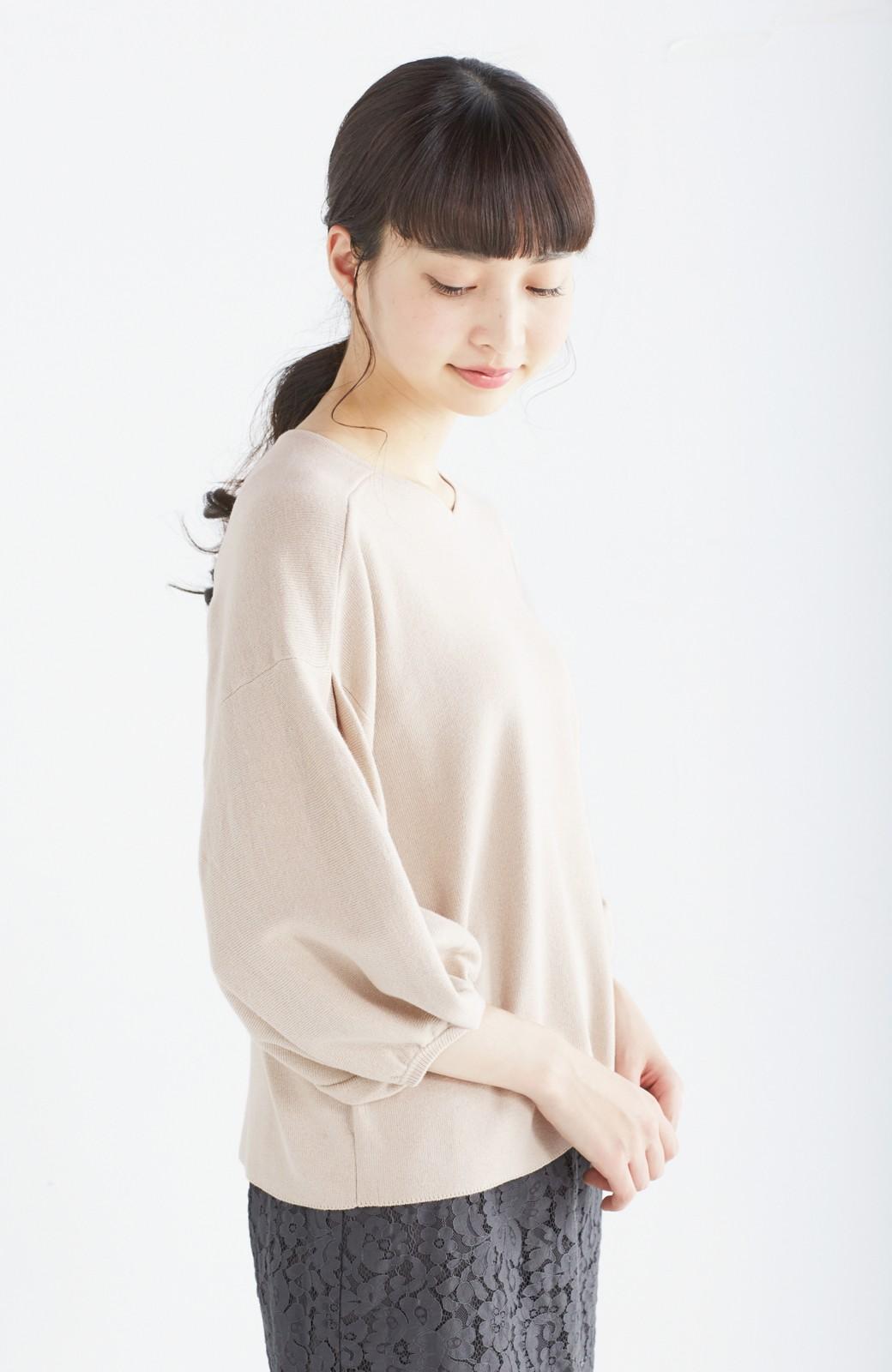 エムトロワ パッと着るだけで上品&今気分 きれいめ総針編みのぷっくり袖ニット <ベージュ>の商品写真15