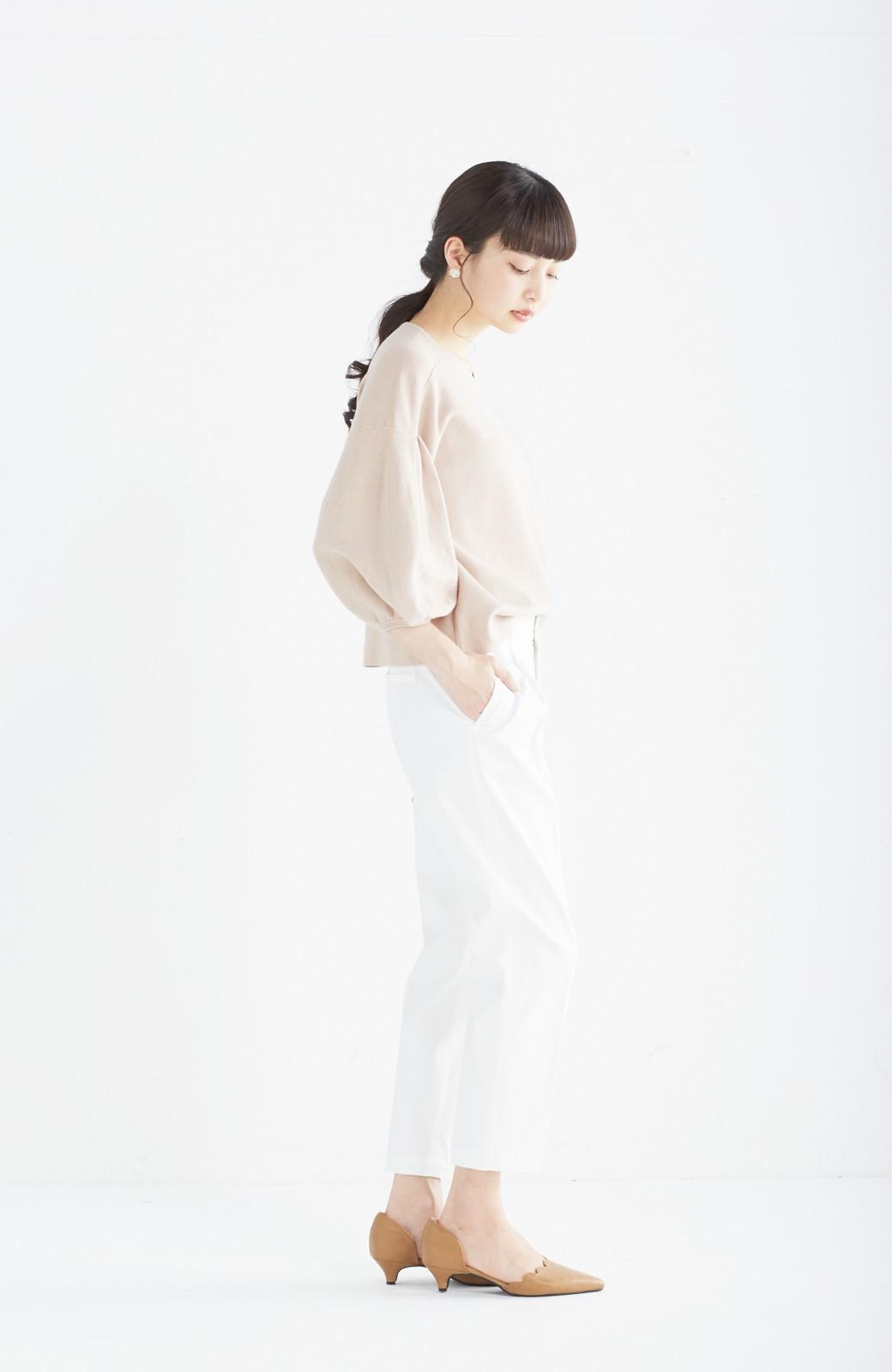 エムトロワ パッと着るだけで上品&今気分 きれいめ総針編みのぷっくり袖ニット <ベージュ>の商品写真9