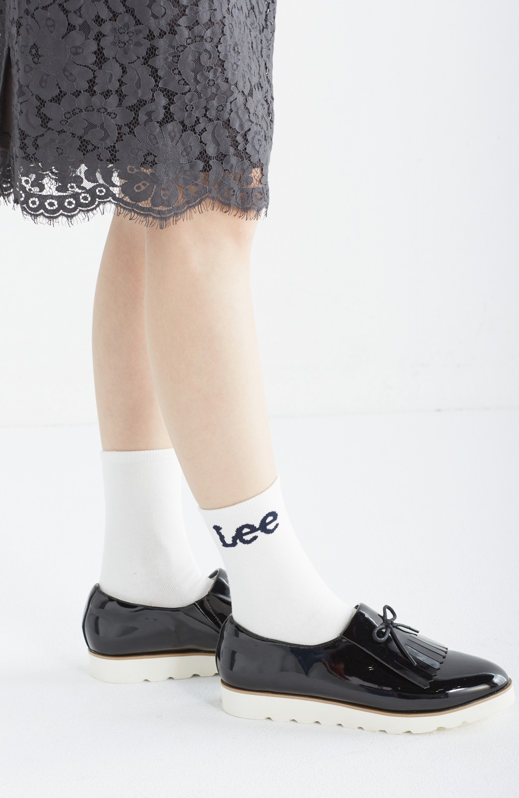 haco! Lee ロゴがかわいいハイカットソックス <ホワイト>の商品写真3