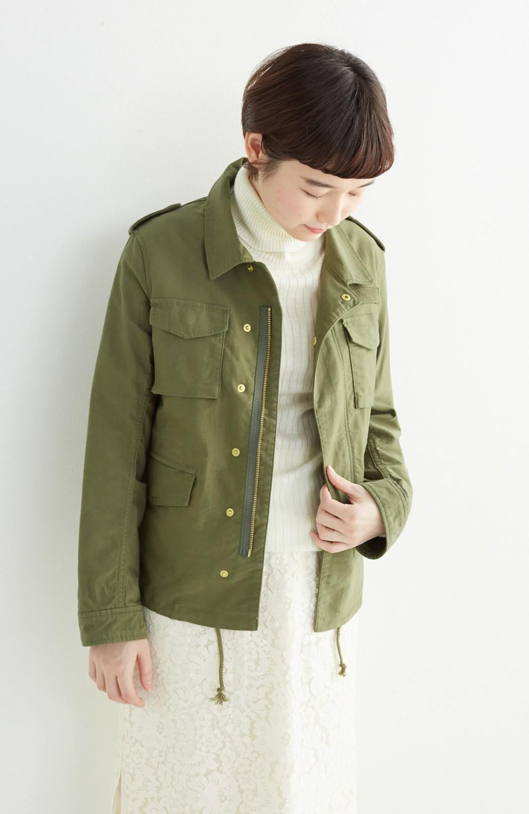 エムトロワ シャツ感覚で気軽に羽織って様になる ミリタリージャケット <カーキ>の商品写真11