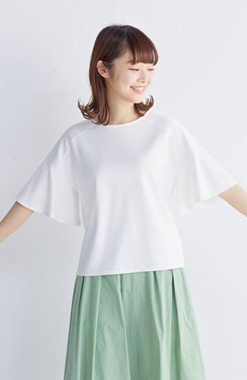 エムトロワ made in Japan 楽ちんきれいなラッフルスリーブトップス <ホワイト>の商品写真