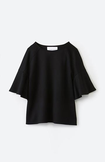 エムトロワ made in Japan 楽ちんきれいなラッフルスリーブトップス <ブラック>の商品写真
