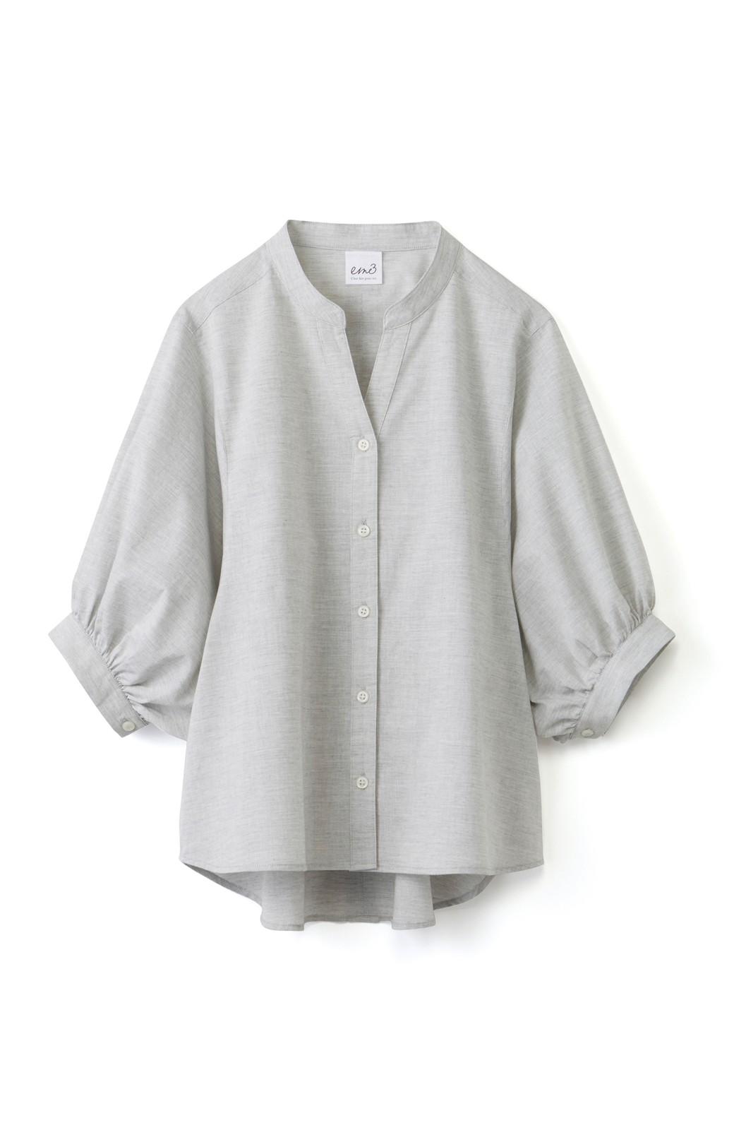 エムトロワ 大人かわいいぷっくり袖シャツ <グレー>の商品写真1