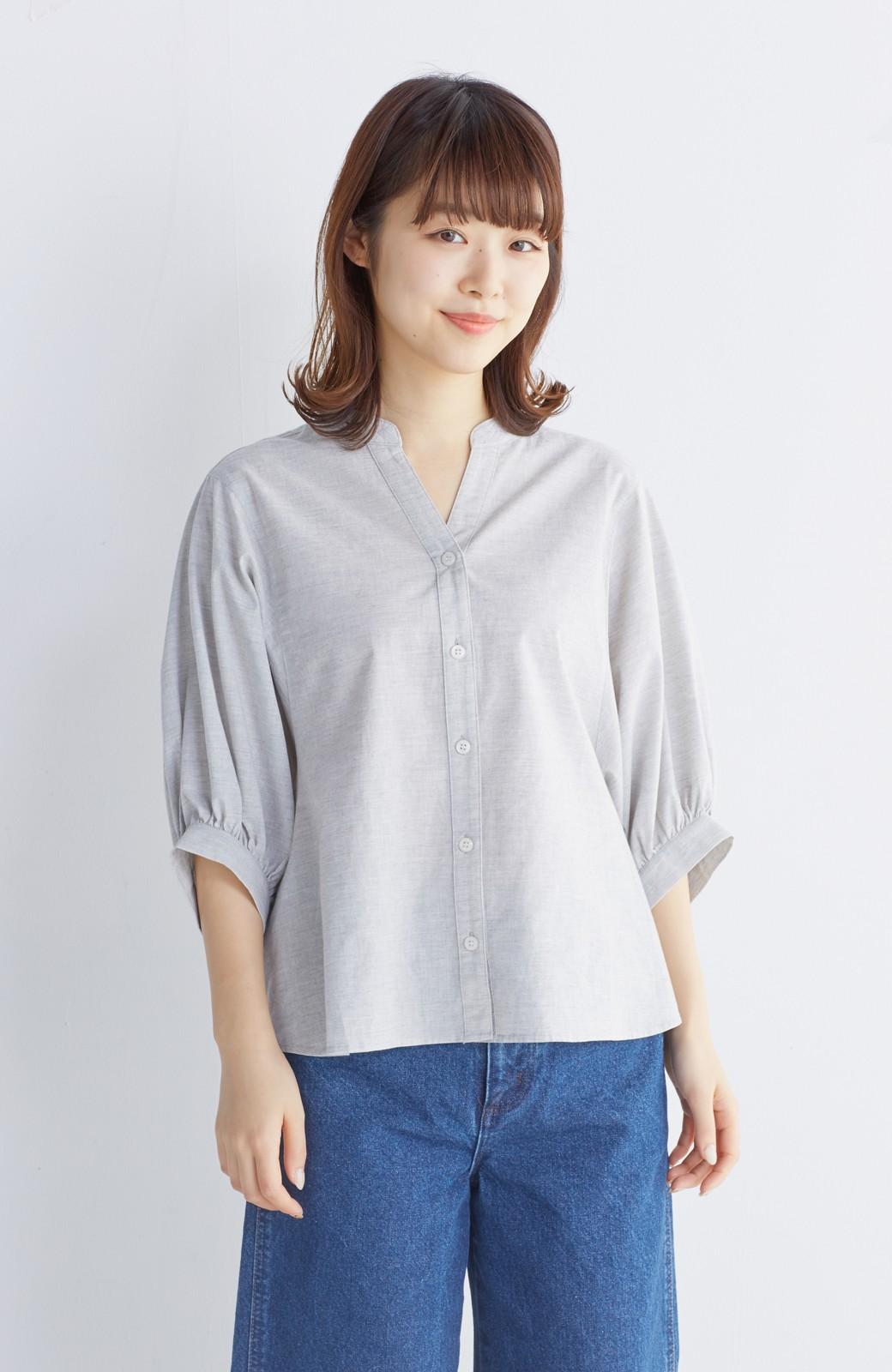 エムトロワ 大人かわいいぷっくり袖シャツ <グレー>の商品写真14
