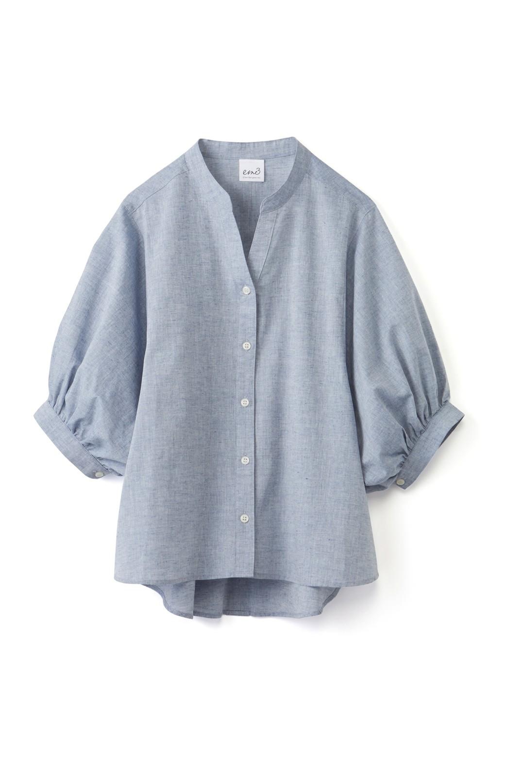 エムトロワ 大人かわいいぷっくり袖シャツ <ブルー>の商品写真1