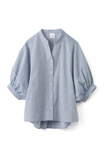 エムトロワ 大人かわいいぷっくり袖シャツ <ブルー>の商品写真