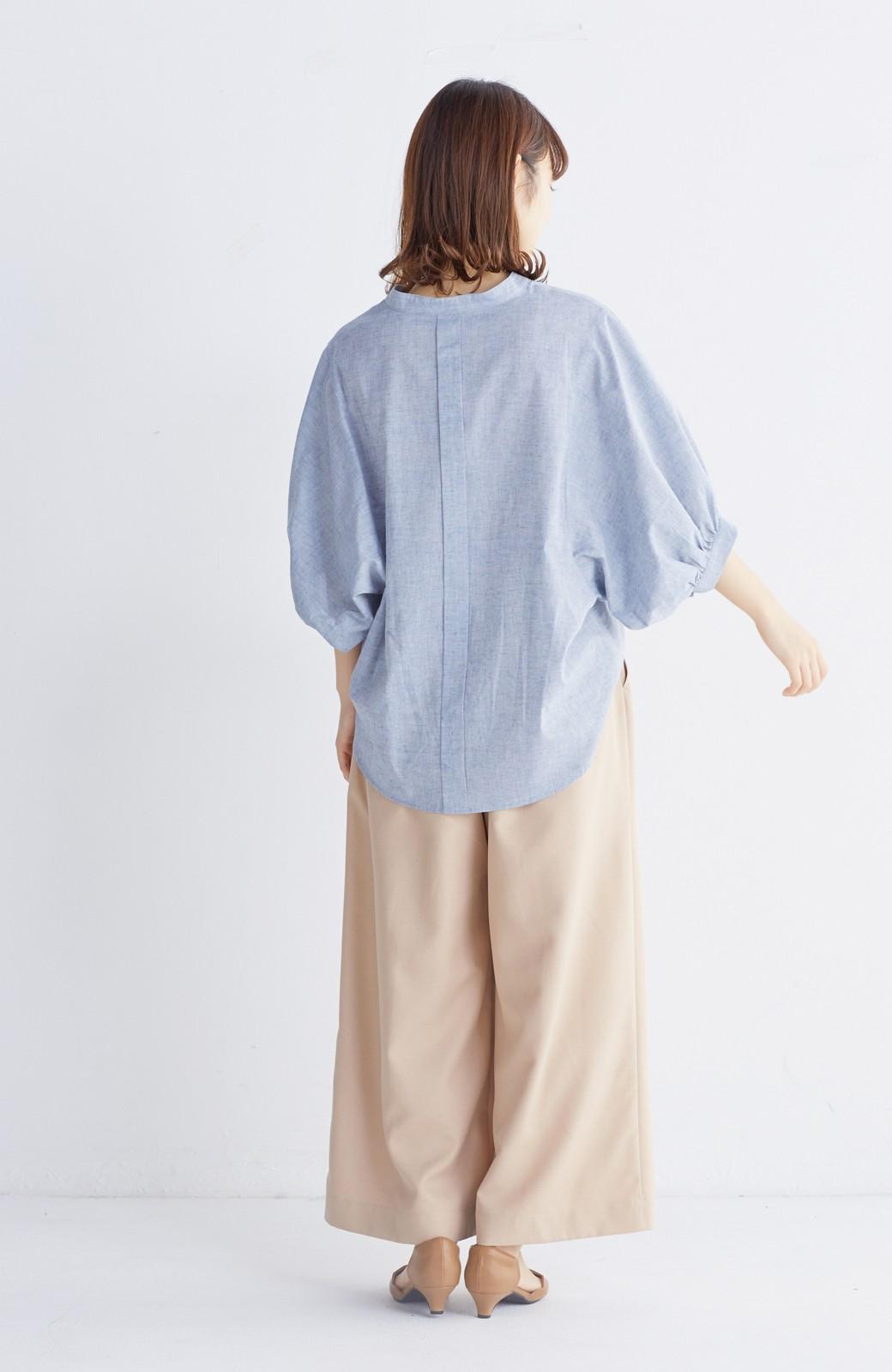 エムトロワ 大人かわいいぷっくり袖シャツ <ブルー>の商品写真5