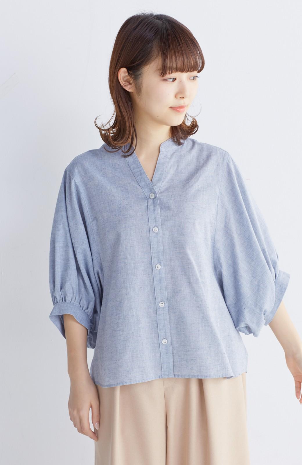 エムトロワ 大人かわいいぷっくり袖シャツ <ブルー>の商品写真6