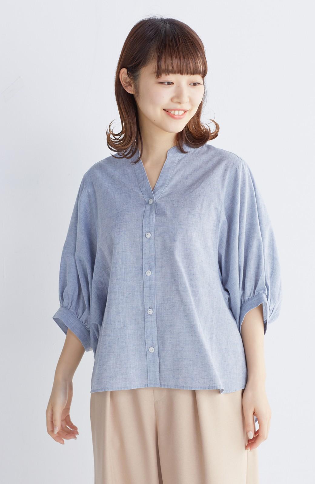 エムトロワ 大人かわいいぷっくり袖シャツ <ブルー>の商品写真8