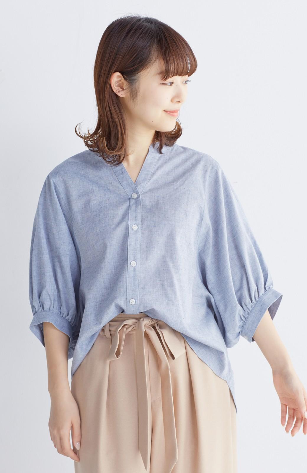 エムトロワ 大人かわいいぷっくり袖シャツ <ブルー>の商品写真9