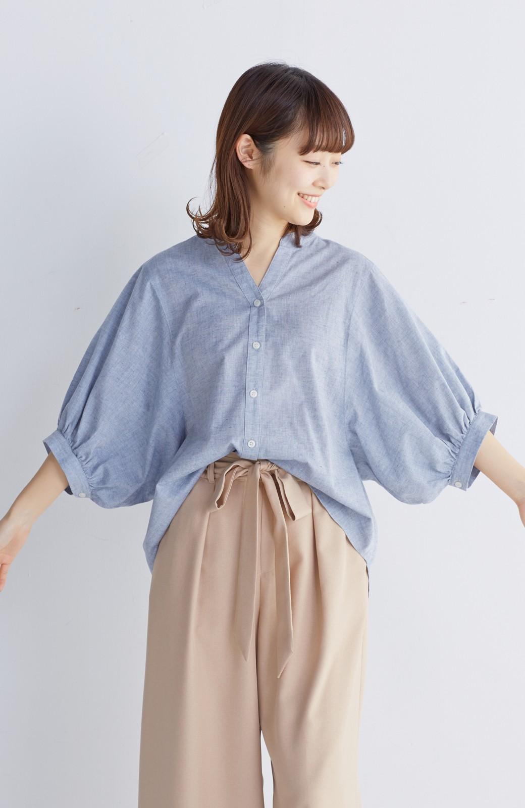 エムトロワ 大人かわいいぷっくり袖シャツ <ブルー>の商品写真11
