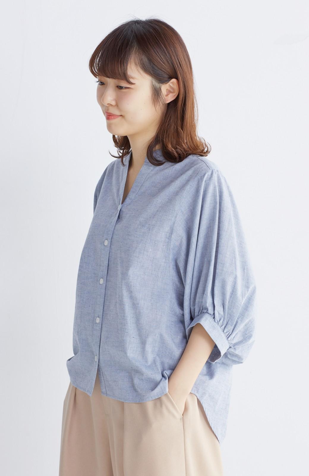 エムトロワ 大人かわいいぷっくり袖シャツ <ブルー>の商品写真12