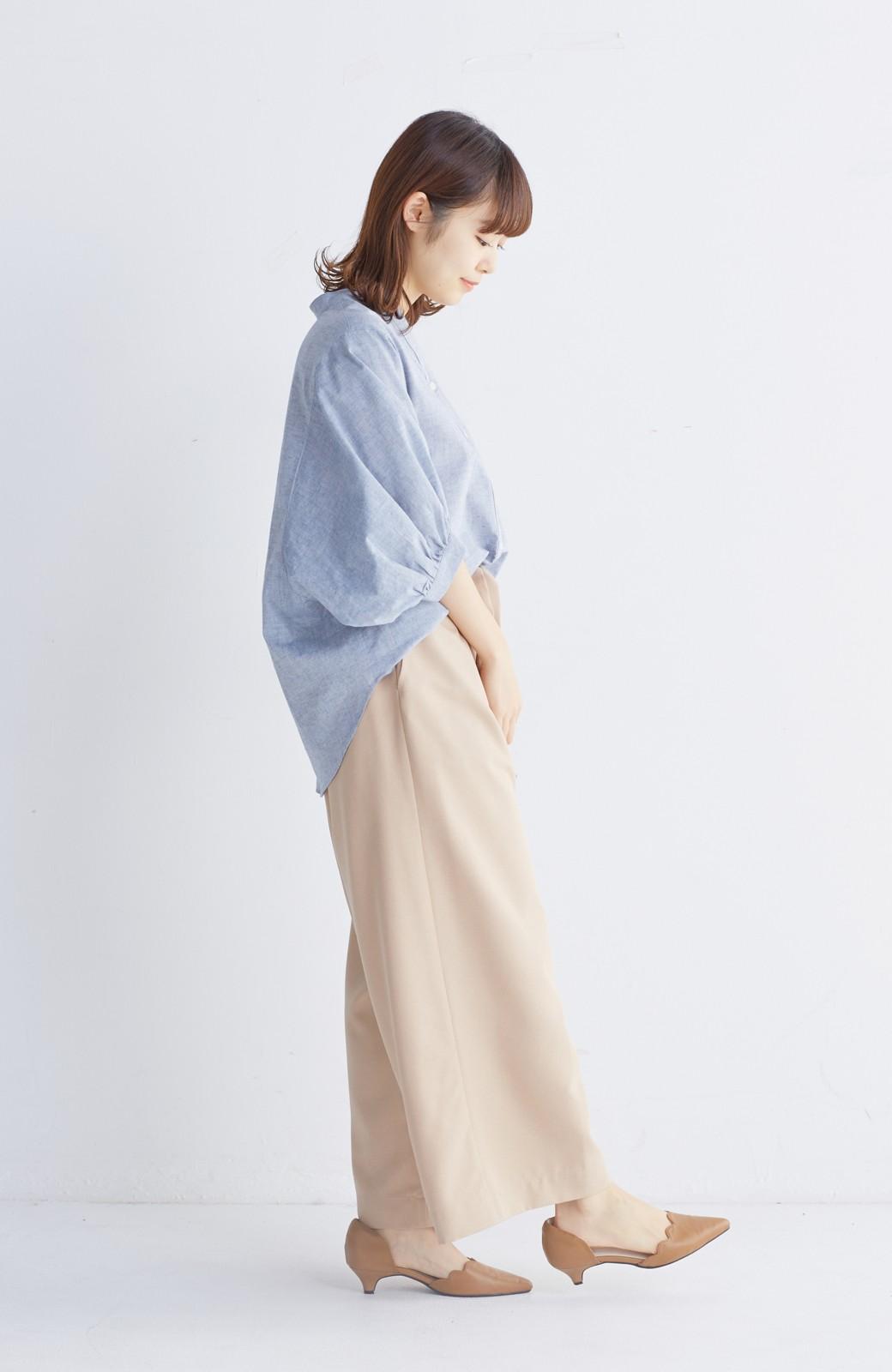 エムトロワ 大人かわいいぷっくり袖シャツ <ブルー>の商品写真4