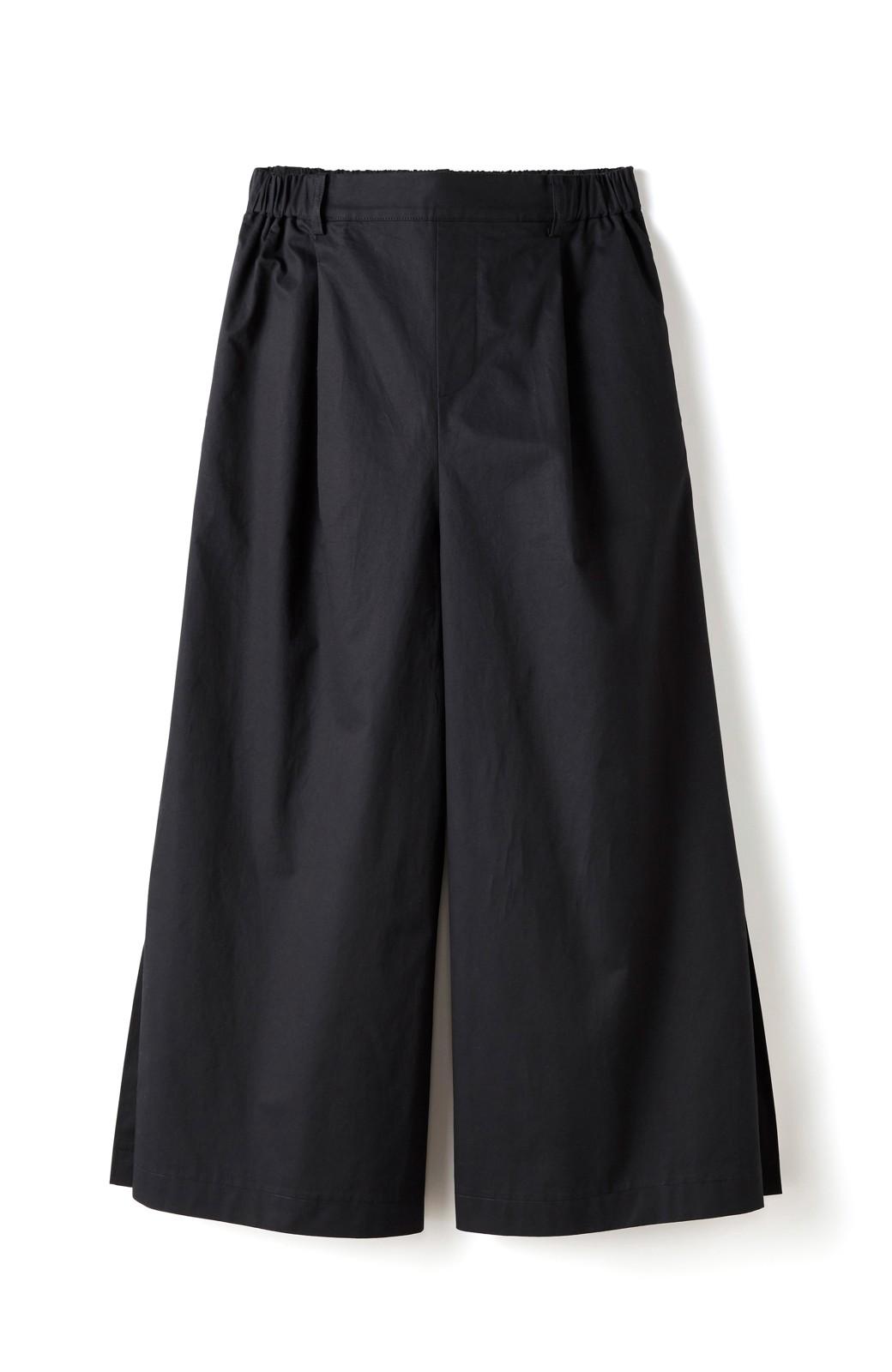 エムトロワ サイドチラ見えがすっと華奢に見せるタックワイドパンツ <ブラック>の商品写真1