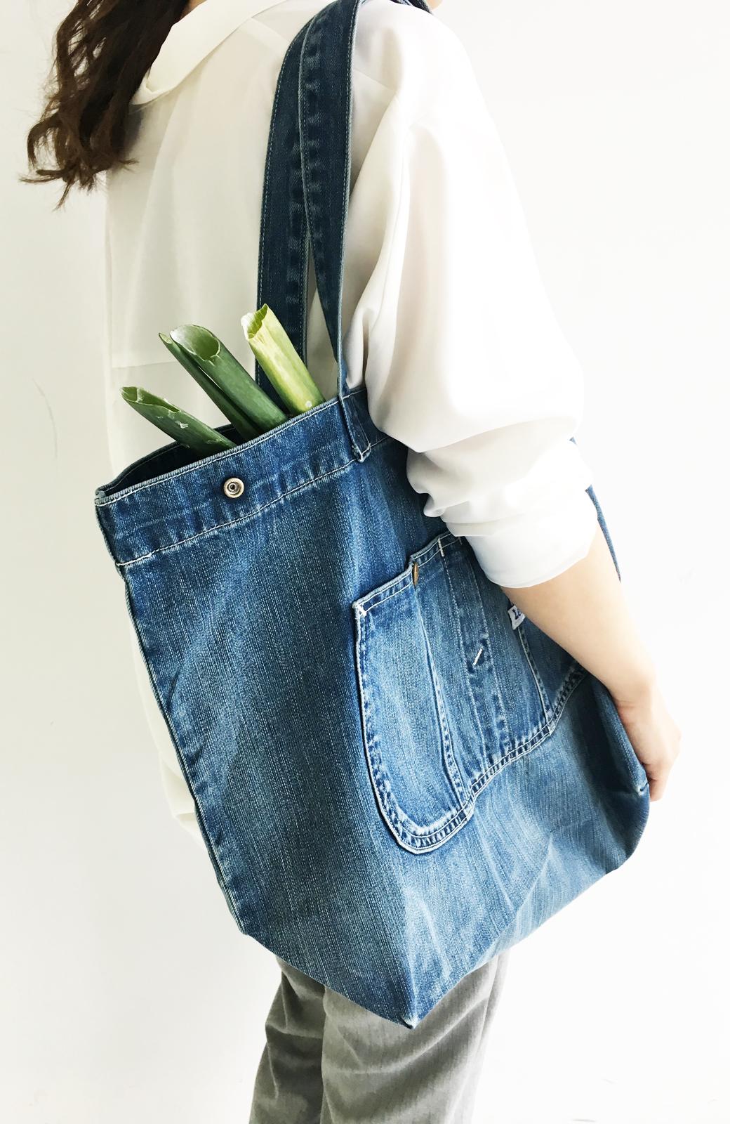 haco! Lee 大きい野菜もらくらく入るデニムショッピングバッグ <インディゴブルー>の商品写真1