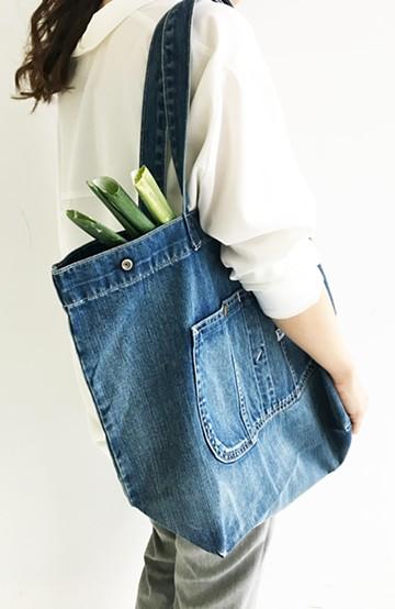 haco! Lee 大きい野菜もらくらく入るデニムショッピングバッグ <インディゴブルー>の商品写真