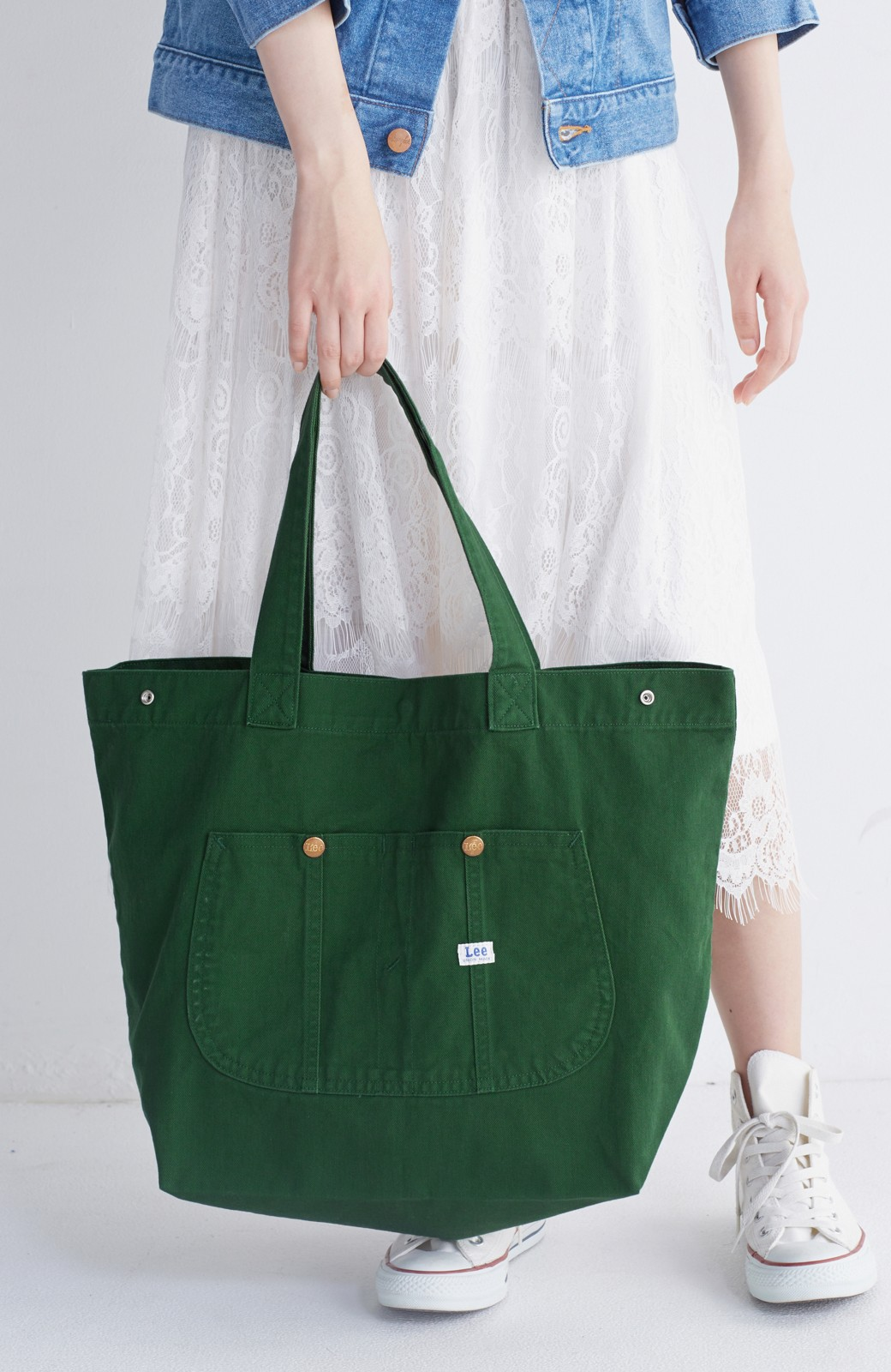 haco! Lee 大きい野菜もらくらく入るエコショッピングバッグ <グリーン>の商品写真10