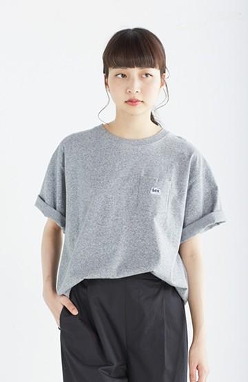haco! Lee ロゴワッペンがかわいい ポケットつきTシャツ <グレー>の商品写真