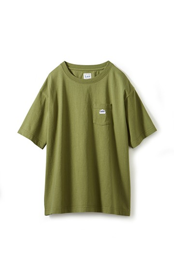 haco! Lee ロゴワッペンがかわいい ポケットつきTシャツ <オリーブ>の商品写真