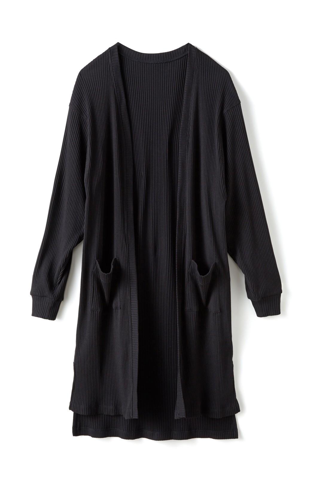 エムトロワ ひとクセ袖の上にも着られる!UVカット&吸水速乾素材のドルマン風カーディガン <ブラック>の商品写真2