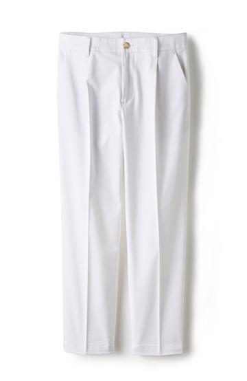 エムトロワ シェルタリングドライ素材で透けにくい細見えテーパードホワイトパンツ <ホワイト>の商品写真