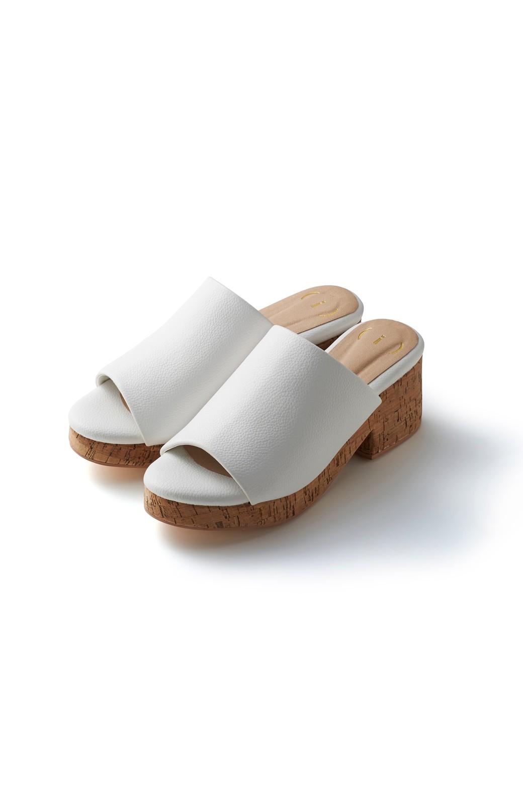 nusy 低&高反発で歩きやすい サボみたいにすぽっとはけるオープントゥサンダル <ホワイト>の商品写真1