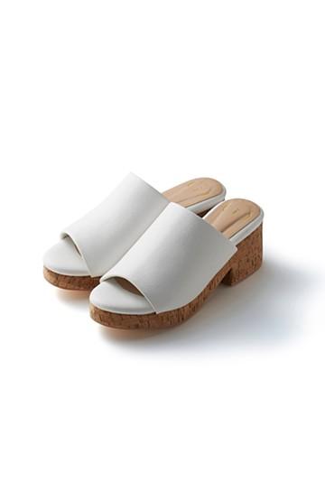 nusy 低&高反発で歩きやすい サボみたいにすぽっとはけるオープントゥサンダル <ホワイト>の商品写真