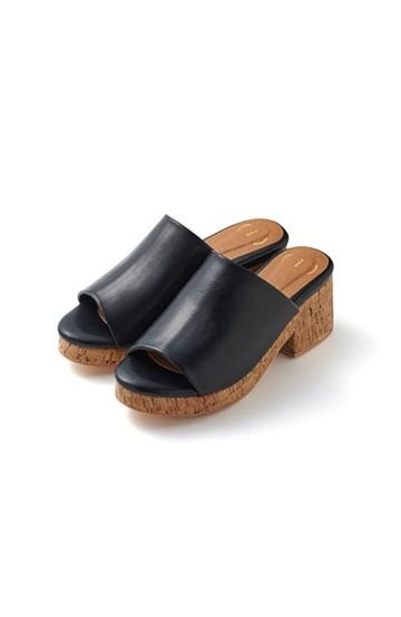 nusy 低&高反発で歩きやすい サボみたいにすぽっとはけるオープントゥサンダル <ブラック>の商品写真