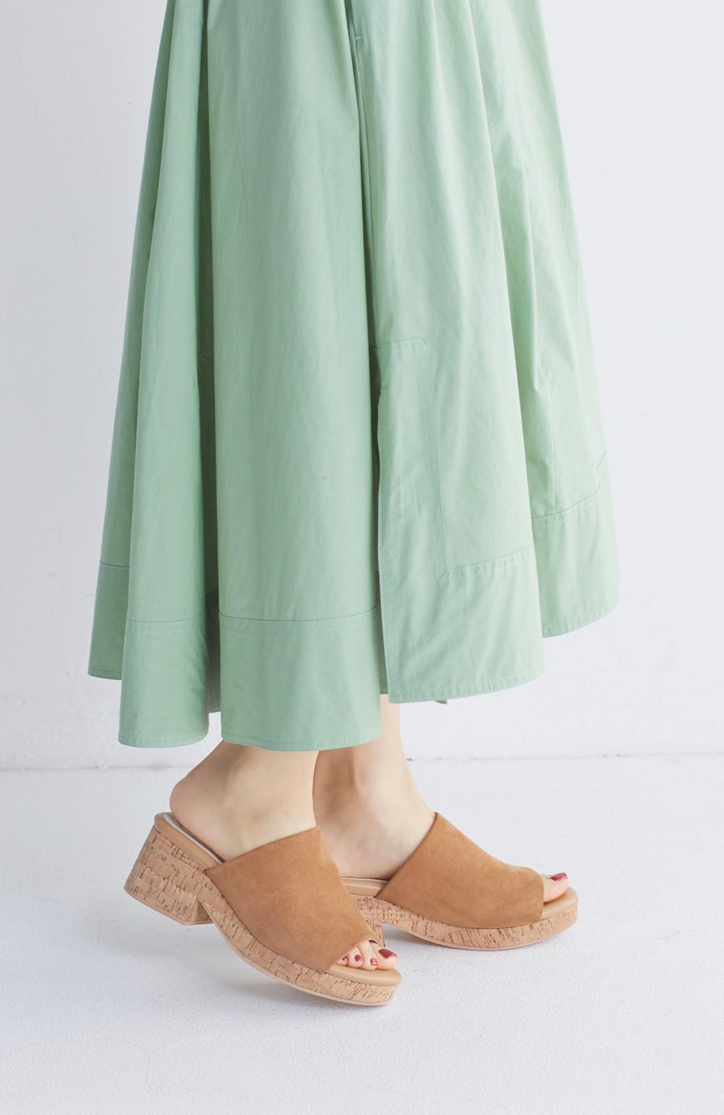 nusy 低&高反発で歩きやすい サボみたいにすぽっとはけるオープントゥサンダル <キャメル>の商品写真3